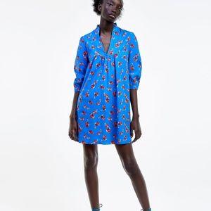 NWT ZARA BLUE FLORAL PRINT DRESS